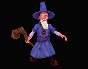 Lowpoly Hand Painted Wizard 3D model
