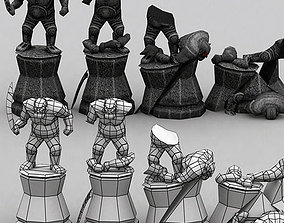 Molten chasm statues 3D asset