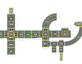 3D asset Road and intersection