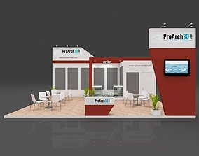 Exhibition stall 3d model 8 mtr x 6 mtr 3 sides open