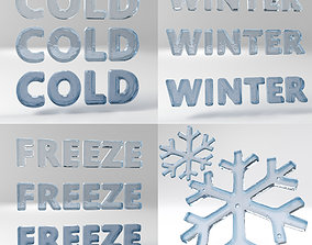 3D asset Ice Text Set