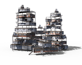 3D model Sci Fi building pack - Building Stack - DMP asset