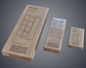 3D asset Furniture product boxes