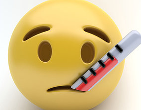 3D asset game-ready EMOJI thermometer