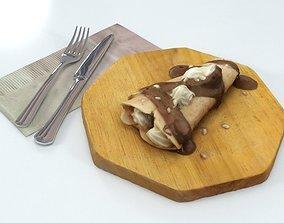 3D asset VR / AR ready Pancake Chocolate Crepe