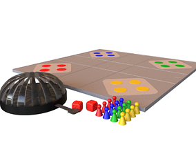 Ludo Board Game with Dice Dome 3D print model