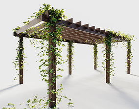 outdoor Pergola with ivy 3D model