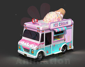 3D asset Low Poly Game Ready Ice-Cream Truck with PBR