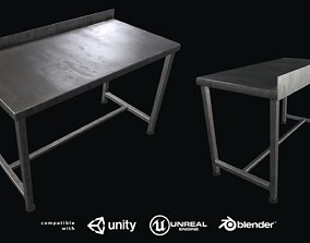 Welded industrial stainless steel table 3D asset