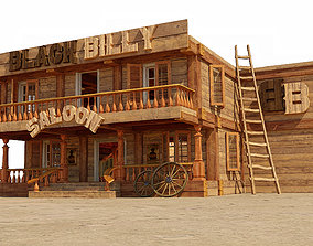 Stylized saloon set 3D