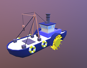 Low poly ship 3D asset game-ready