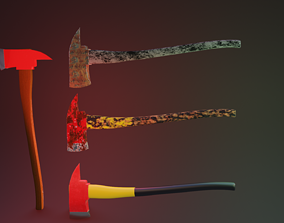 Fire Axe with 4 diffrent textures 3D asset low-poly