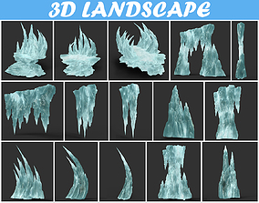 3D Low poly Sharp Ice Modular Pack 190405