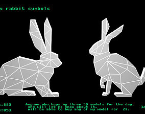 Low poly rabbit symbols 3D model