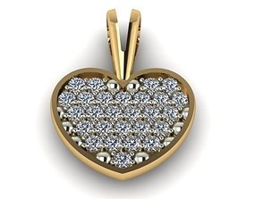Model of a heart pendant with diamonds