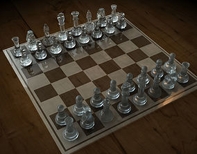 Glass Chess Set 3D model