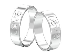 3D print model Set of two love rings with gemstones