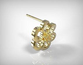 3D printable model Golden Jewelry Flower Shaped Earrings