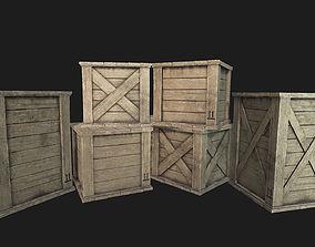 Wooden Crates PBR 01 3D model