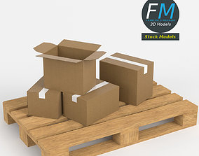 Cardboard boxes on wooden pallet 3D