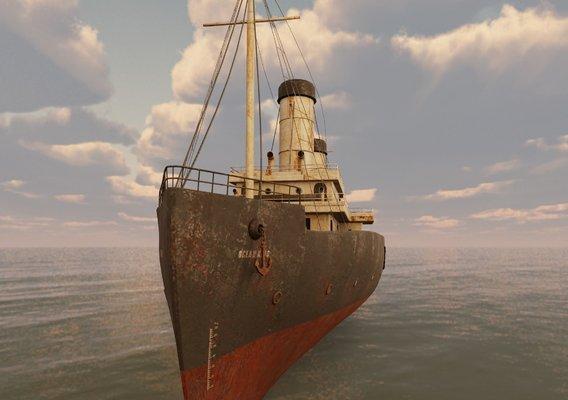 Passenger Steam Ship Game ready model