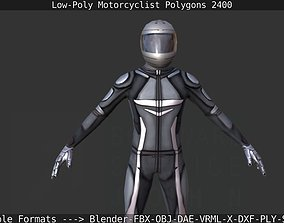 Lowpoly Motorcyclist 3D model game-ready