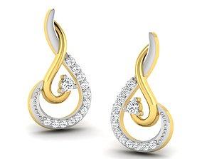 gold wedding Women earrings 3dm render detail