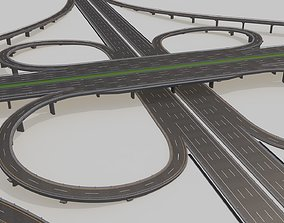Highway Intersection Road Bridge 3D