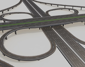 3D Highway Intersection Road Bridge