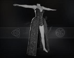 3D asset VR / AR ready Black Dress